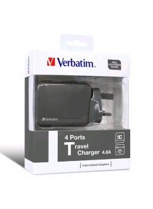 Verbatim 4-port Travel Charger - Grey  (6943760251234)