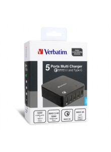 Verbatim 5-port Multi Charger - Black  (6943760253962)